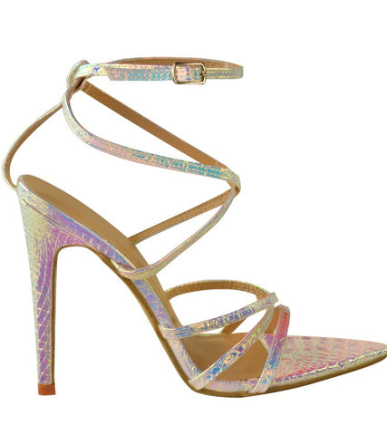 Multicolour Hologram Pointed Strap Heels