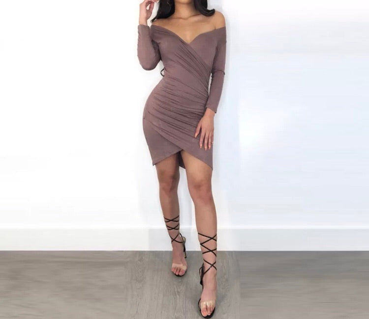 Longsleeve Ruched Bodycon Mini Dress
