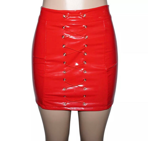 PU Leather Front Tie Mini Skirt
