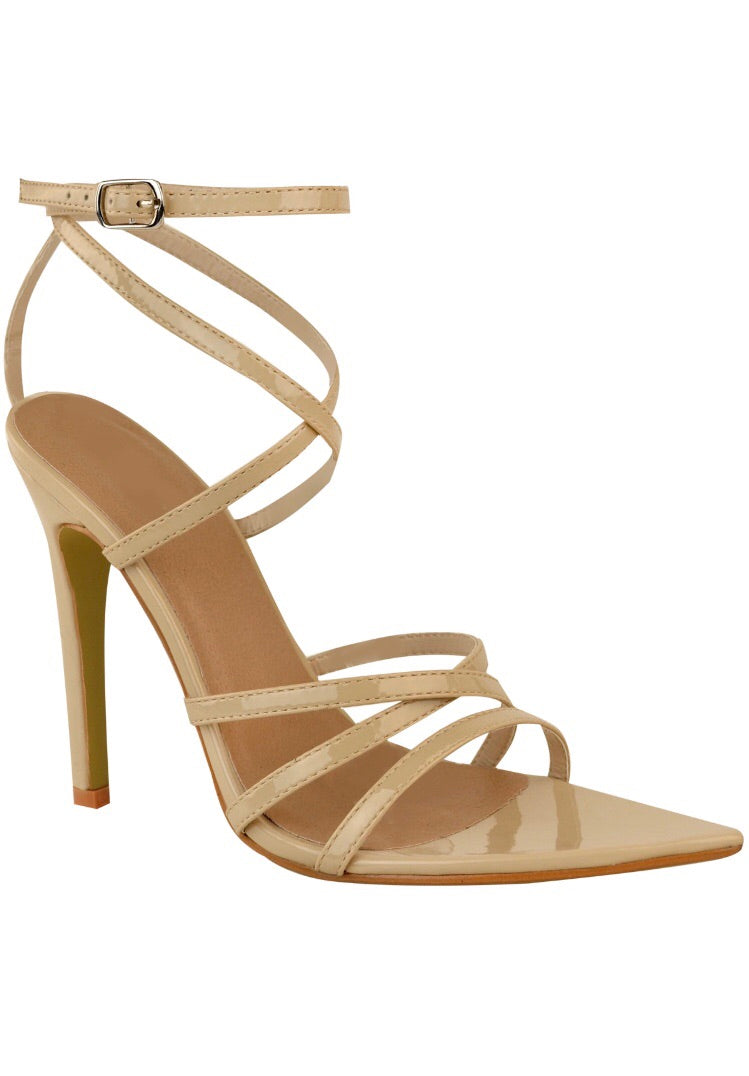 Patent Strappy Pointed Sandals