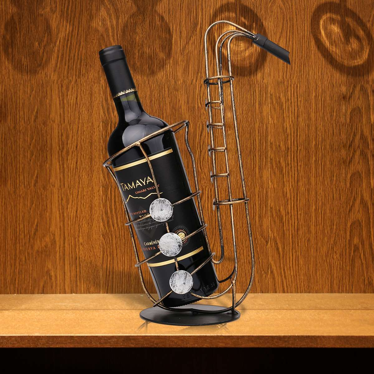 Metal Saxophone Wine Display