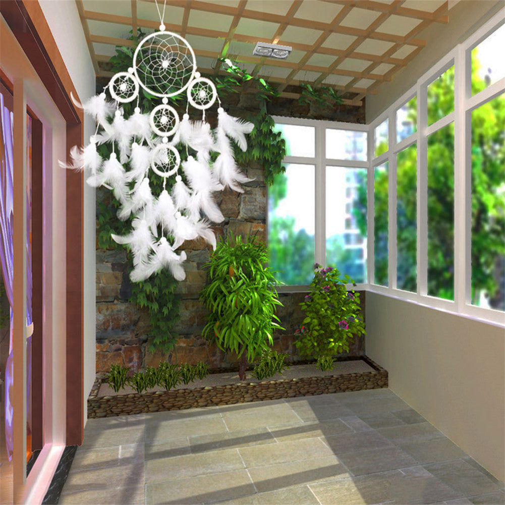 Bright White Pearl Feather Dream Catcher
