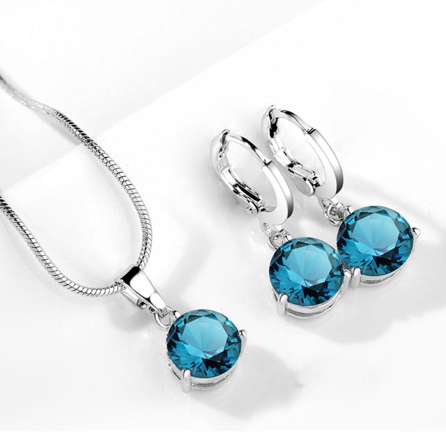 Signature Teal Crystal Necklace & Drop Earrings Set