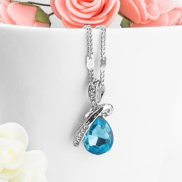 Sterling Silver Raindrop Crystal Necklace