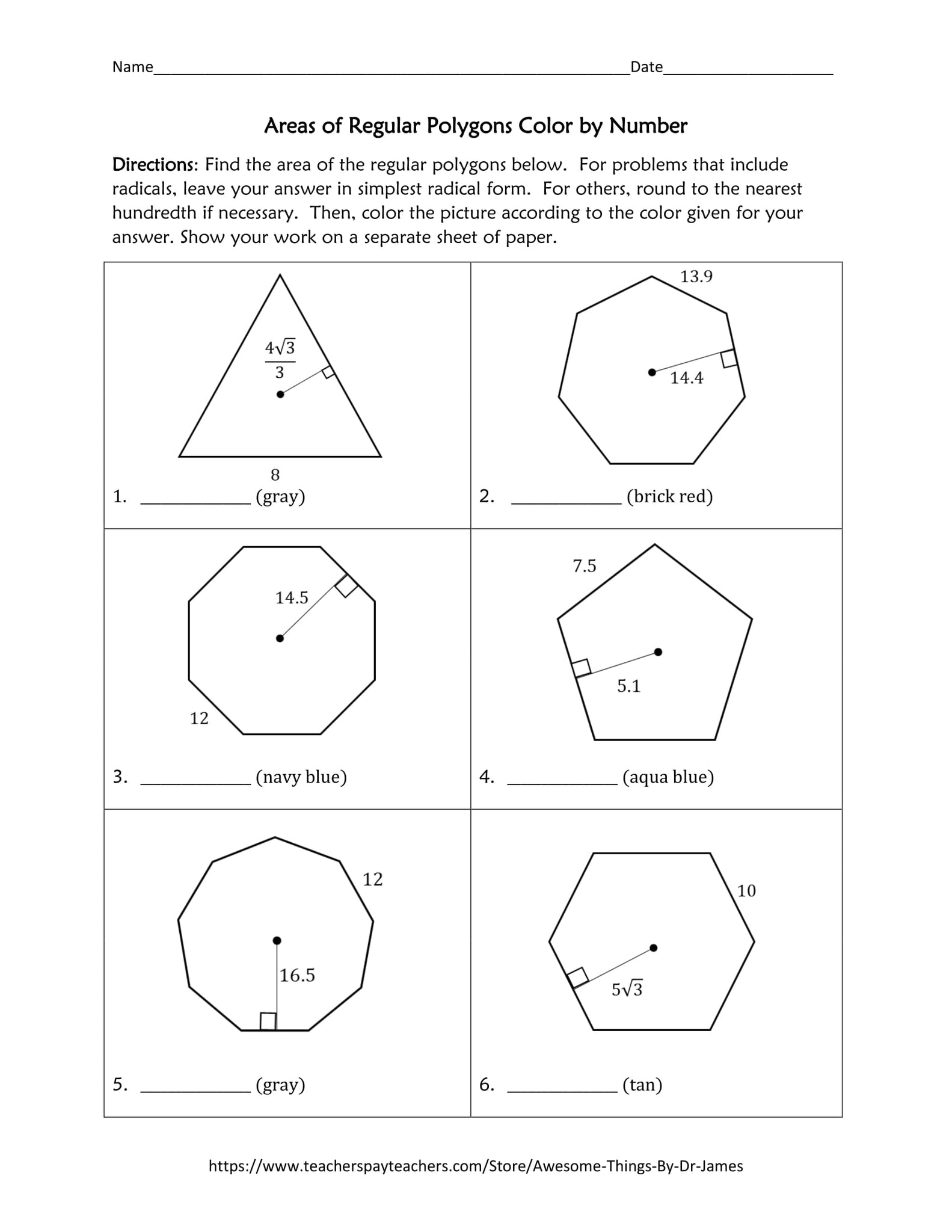 Worksheets Areas Of Regular Polygons Worksheet areas of regular polygons color by number funrithmetic