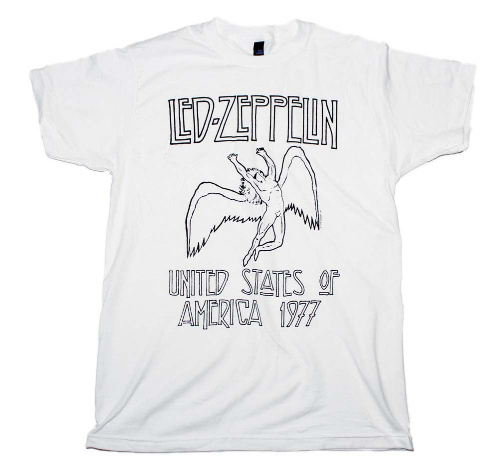 Led Zeppelin USA 77 White T-Shirt