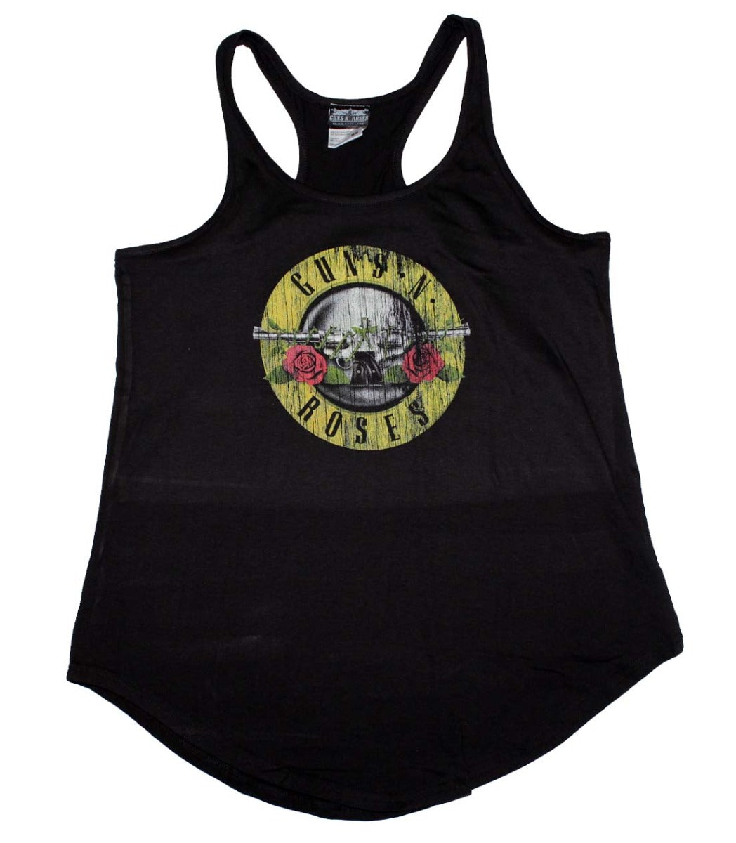 Guns n Roses Distressed Logo Women's Racerback Tank - Black