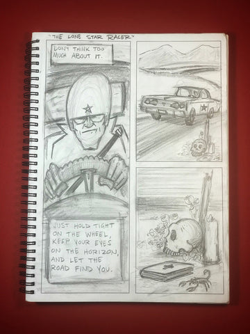 SeqArt sequential art sketchbook lone star racer
