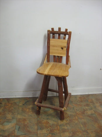 Bar Stool - With Back, fixed seat (no swivel action), Oak, Walnut or Cherry & Sassafras