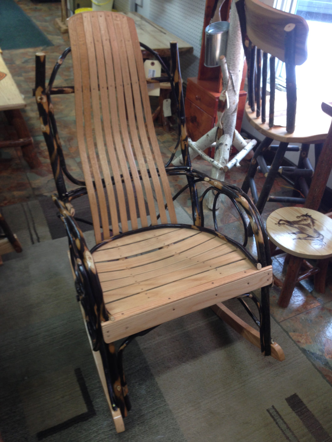 Rocker - Amish Bentwood Hickory, Extra Large Size (9-Slat Back),