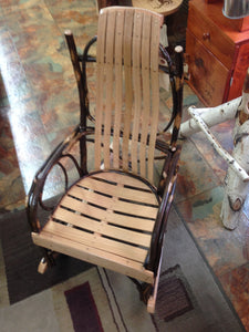 Rocker - Child's Size, Amish Bentwood Hickory, Twig Arms, Natural Color Finish