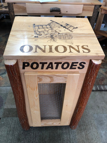 Potato & Onion Bin - Oak, Walnut or Cherry & Sassafras