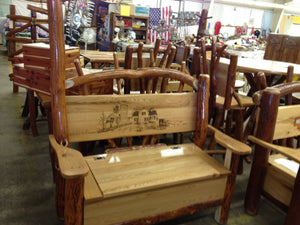 Hall Seat - With Trunk Storage - Oak, Walnut or Cherry & Sassafras