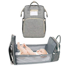 Load image into Gallery viewer, 4-in-1 Baby Crib Diaper Backpack Bag Change Station