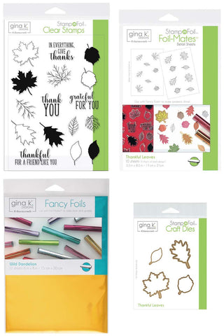 Gina K Stamp and Foil - Thankful Leaves - Clear Stamps, Steel Dies, Foil-Mates Detail Sheets and Wild Dandelion Fancy Foil with Storage Pocket