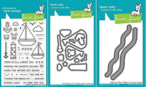 Lawn Fawn Smooth Sailing Stamp and Die Set & Slide On Over Wave Dies - Set of 3 Nautical Sailboat-Themed Items