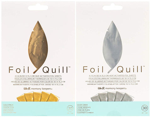 We R Memory Keepers - Foil Quill 4 x 6 Foiling Sheets - Gold Finch and Silver Swan - 2 Metallic Foil Packages