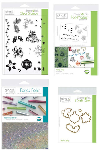 Gina K Stamp and Foil - Holly Jolly - Clear Stamps, Steel Dies, Foil-Mates Detail Sheets and Fancy Foil with Storage Pocket