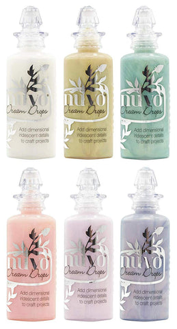 Tonic Studios Nuvo Dream Drops - Iridescent Rainbow-Finish Embellishment Drops - Six 1.3 Ounce Bottles