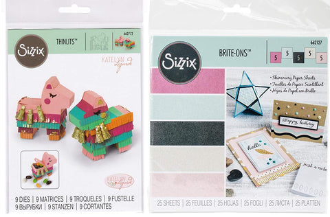 Llama Pinata Box Thinlits Die Set and Sizzix Shimmery Brite-ons Paper
