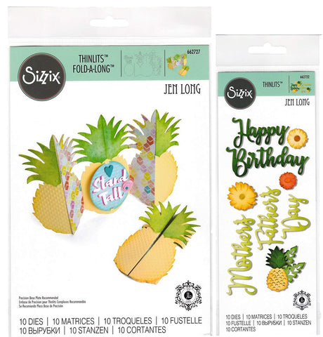 Pineapple Thinlit Bundle - Pineapple Fold-A-Long Card Die and Happy Pineapple Phrases Dies