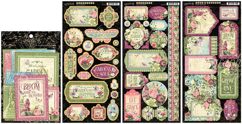 Graphic 45 - Bloom Collection Chipboard Die-Cuts, Cardstock Tags & Pockets, Stickers and Ephemera Cards