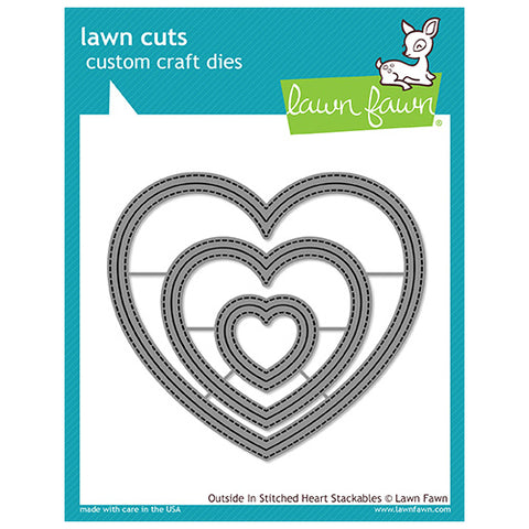 Lawn Fawn - Lawn Cuts - Outside In Stitched Heart Stackables