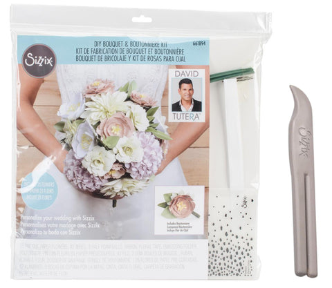 Sizzix - David Tutera - Paper Flower DIY Bouquet & Boutonniere Kit and Crease Curl Tool - Includes Pre-cut Paper, Wires, Foam, Tape and Ribbon