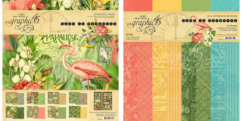 Graphic 45 - Lost In Paradise Collection Pack and Bloom Patterns & Solids Paper Pad - 12 x 12 Inch Decorative Papers
