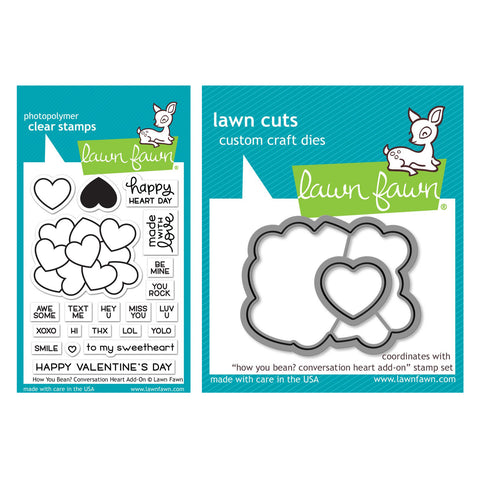 Lawn Fawn - Stamp & Die Set - How You Bean? Conversation Hearts Add-On