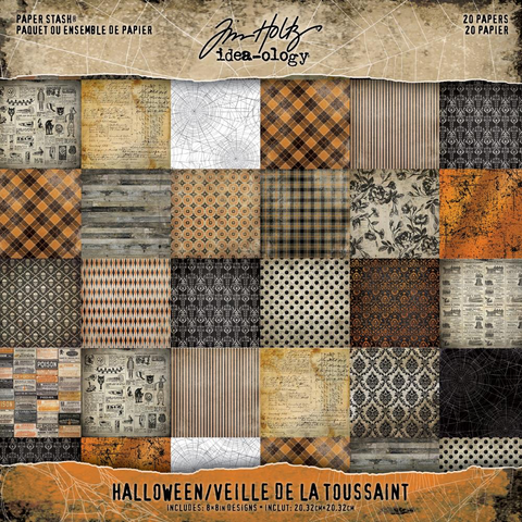 "Tim Holtz Halloween 2018 Idea-Ology Halloween Paper Stash Double-Sided Paper Pad 8 ""x 8"""