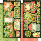 Graphic 45 - Lost In Paradise Collection Chipboard Die-Cuts, Cardstock Tags & Pockets, Stickers and Ephemera Cards