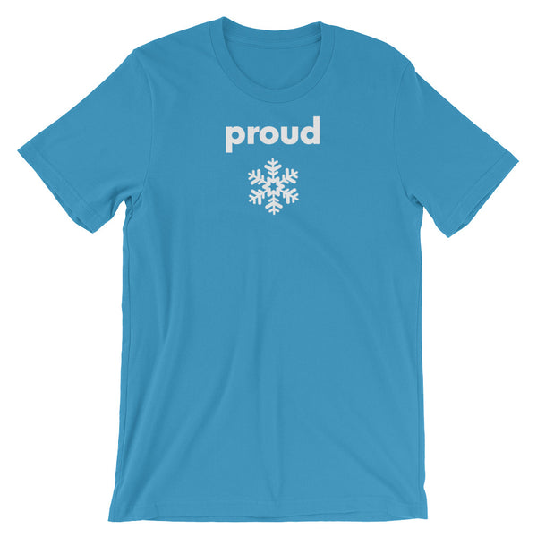 Proud Snowflake - white on blue , short-sleeve, front & back, unisex t-shirt