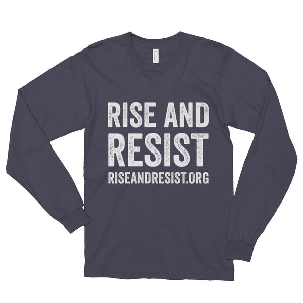 Rise and Resist - asphalt, front URL, long-sleeve, unisex t-shirt