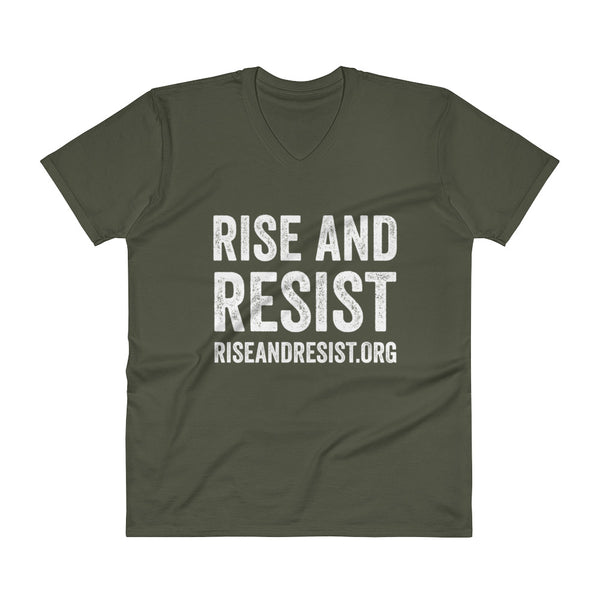 Rise and Resist - green, front URL, v-neck, unisex t-shirt