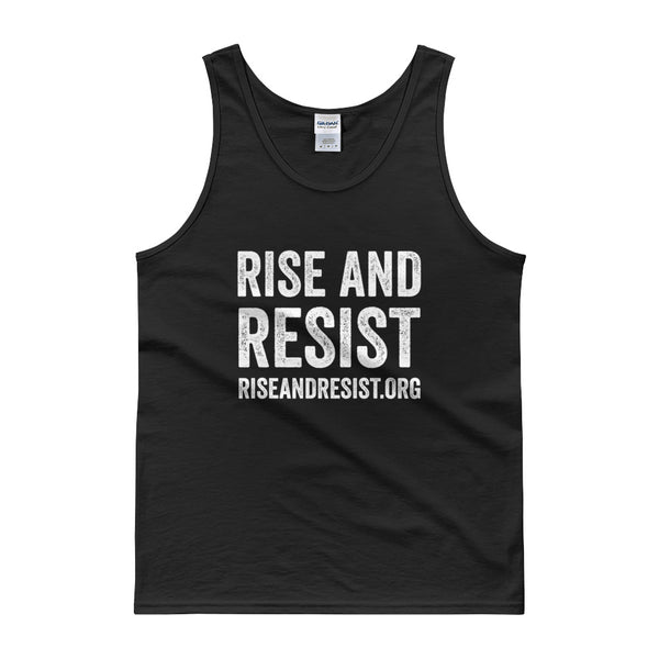 Rise and Resist - black, front URL, tank top
