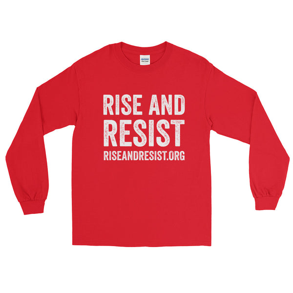 Rise and Resist - red, front URL, long-sleeve, unisex t-shirt