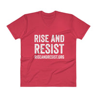 Rise and Resist - red, front URL, v-neck, unisex t-shirt