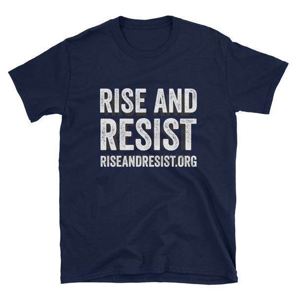 Rise and Resist - navy, front URL, short-sleeve, unisex t-shirt