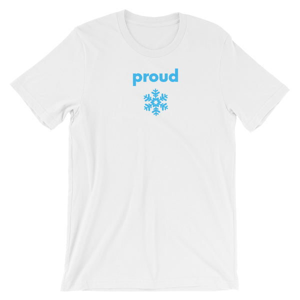 Proud Snowflake - blue on white, short-sleeve, front & back, unisex t-shirt
