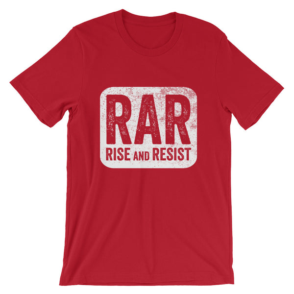 Rise and Resist Patch - red, short-sleeve, unisex t-shirt