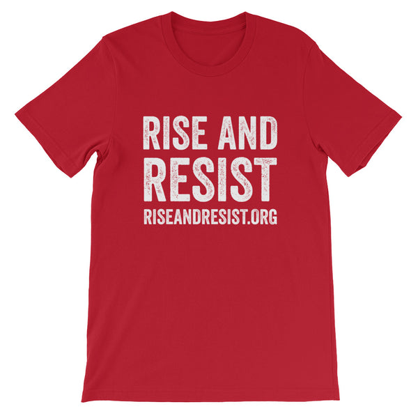Rise and Resist - red, front URL, short-sleeve, unisex t-shirt