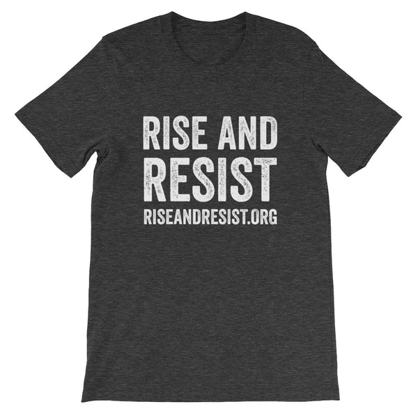 Rise and Resist - grey, front URL, short-sleeve, unisex t-shirt