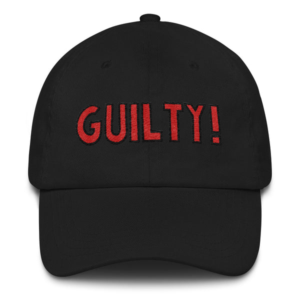 GUILTY!  - red and black on black