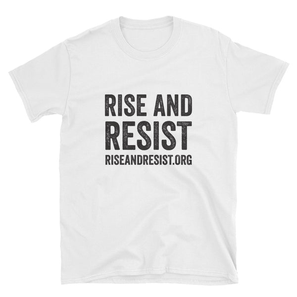 Rise and Resist - white, front URL, short-sleeve, unisex t-shirt