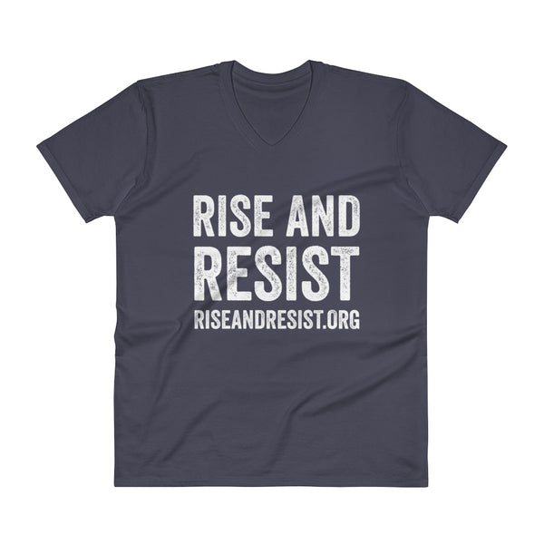 Rise and Resist - navy, front URL, v-neck, unisex t-shirt