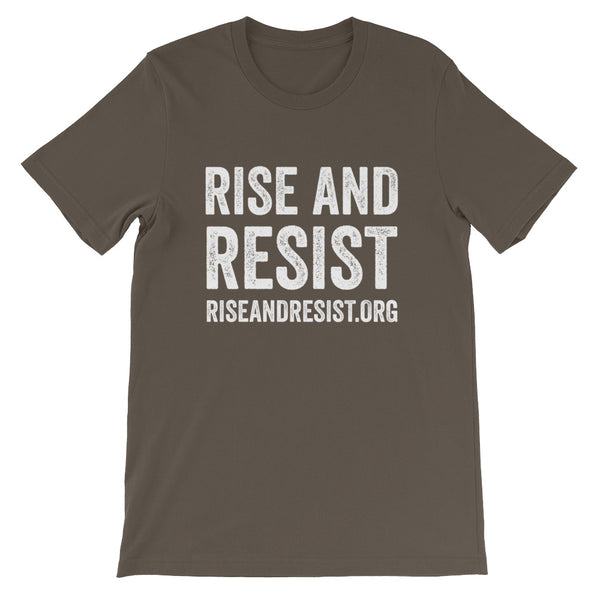Rise and Resist - green, front URL, short-sleeve, unisex t-shirt