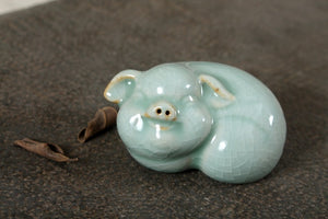 TIMELESS Traditions Ceramic Crackle Glazed Pig Tea Pet
