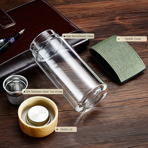TeaESSENTIALS Glass Tumbler w/ Canvas Bottle Cover