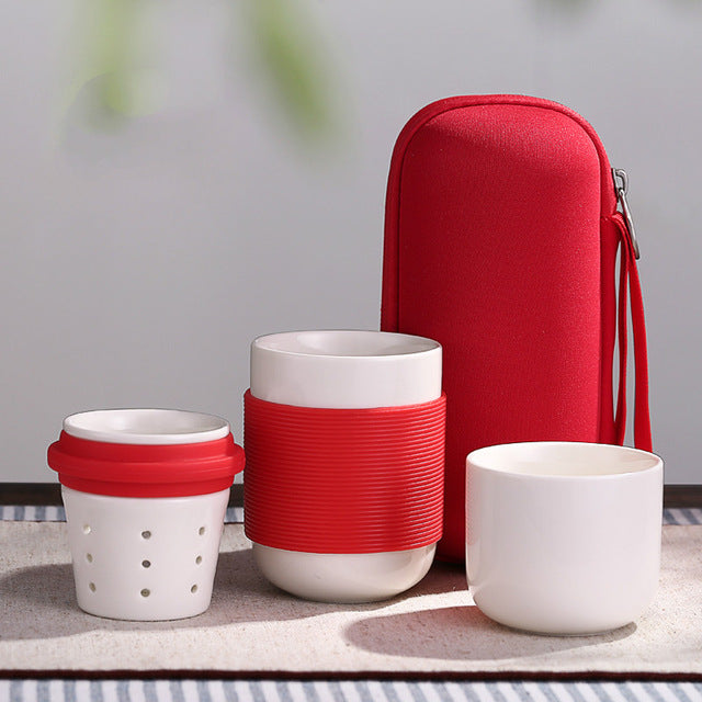 TEA FOR ONE 3-Piece Bone China Travel Set w/ Bag
